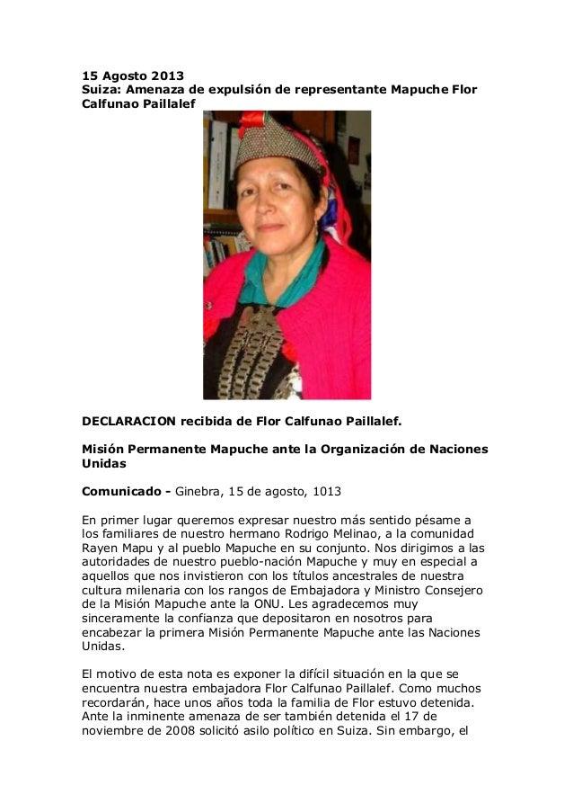 15 Agosto 2013 Suiza: Amenaza de expulsión de representante Mapuche Flor Calfunao Paillalef DECLARACION recibida de Flor C...