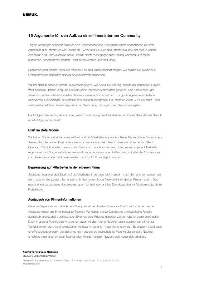NEMUK.     15 Argumente für den Aufbau einer firmeninternen Community     Täglich verbringen hunderte Millionen von Arbeit...