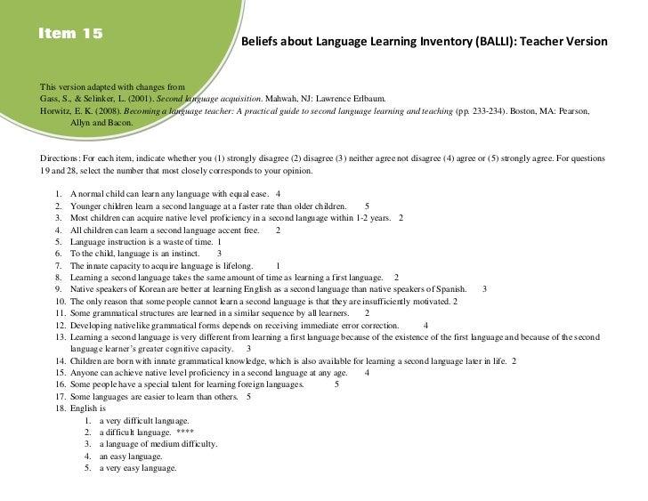 Item 15                                                  Beliefs about Language Learning Inventory (BALLI): Teacher Versio...