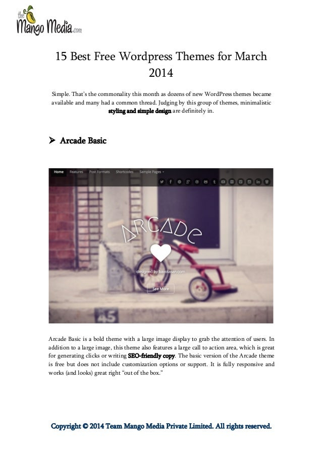 15 Best Free Wordpress Themes for March 2014