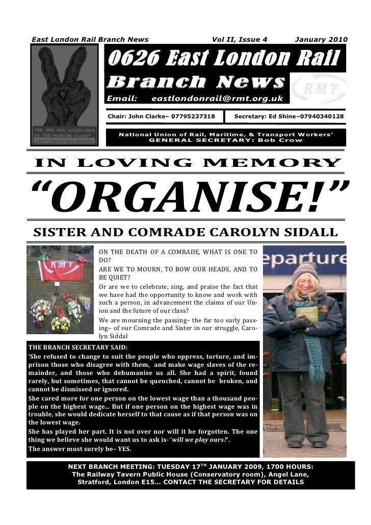 East London Rail Branch News                               Vol II, Issue 4         January 2010                         06...