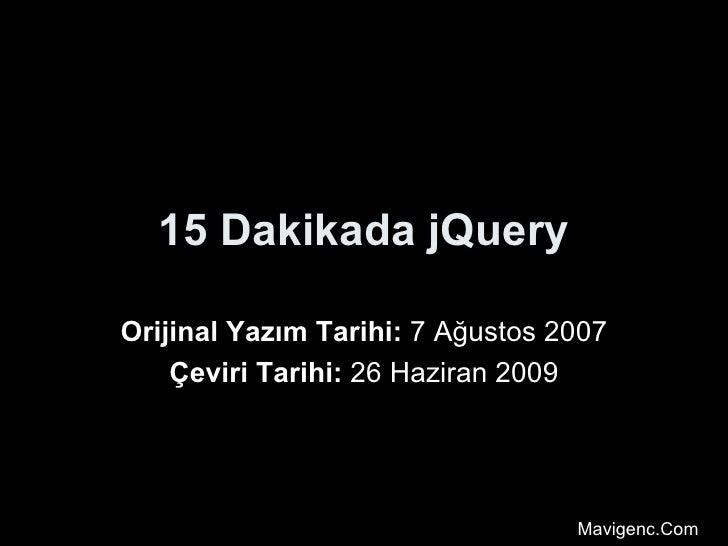 15 Dakikada jQuery