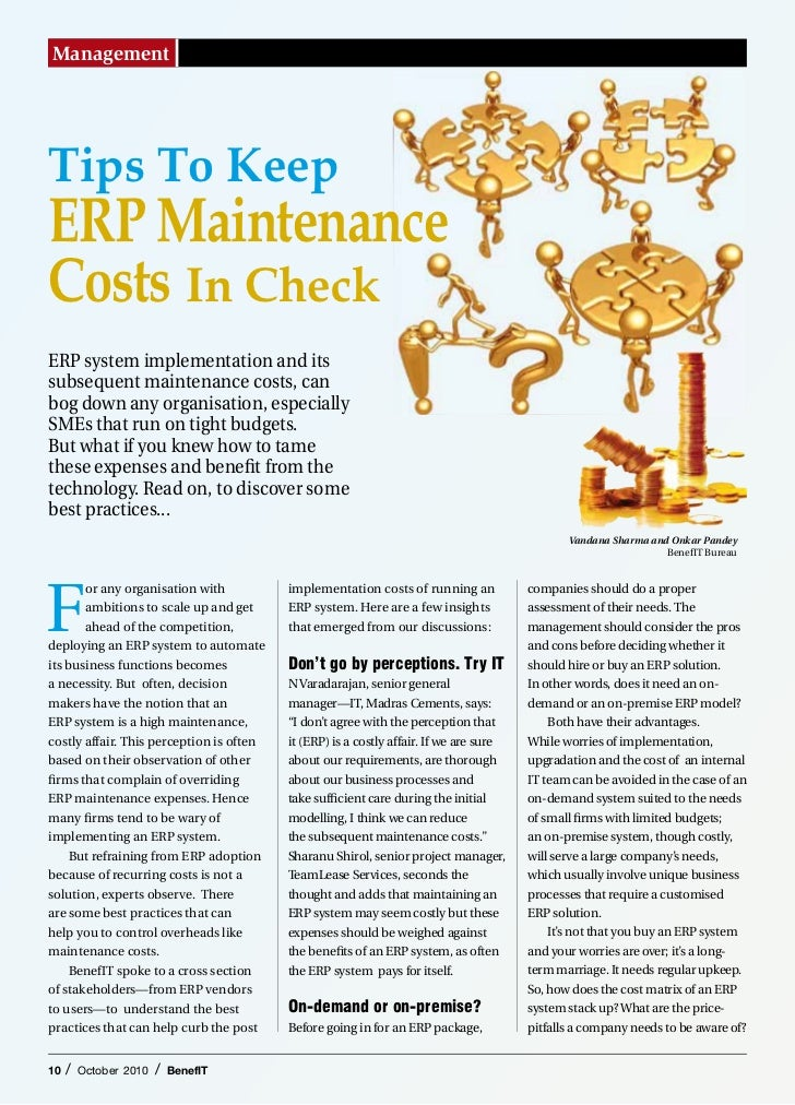 ManagementTips To KeepERP MaintenanceCosts In CheckERP system implementation and itssubsequent maintenance costs, canbog d...
