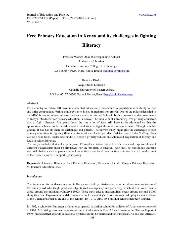 15 free primary education in kenya 146-154