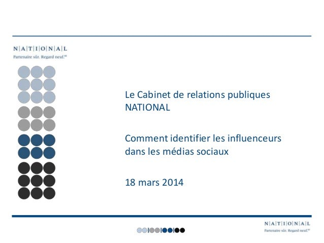 Le Cabinet de relations publiques NATIONAL Comment identifier les influenceurs dans les médias sociaux 18 mars 2014