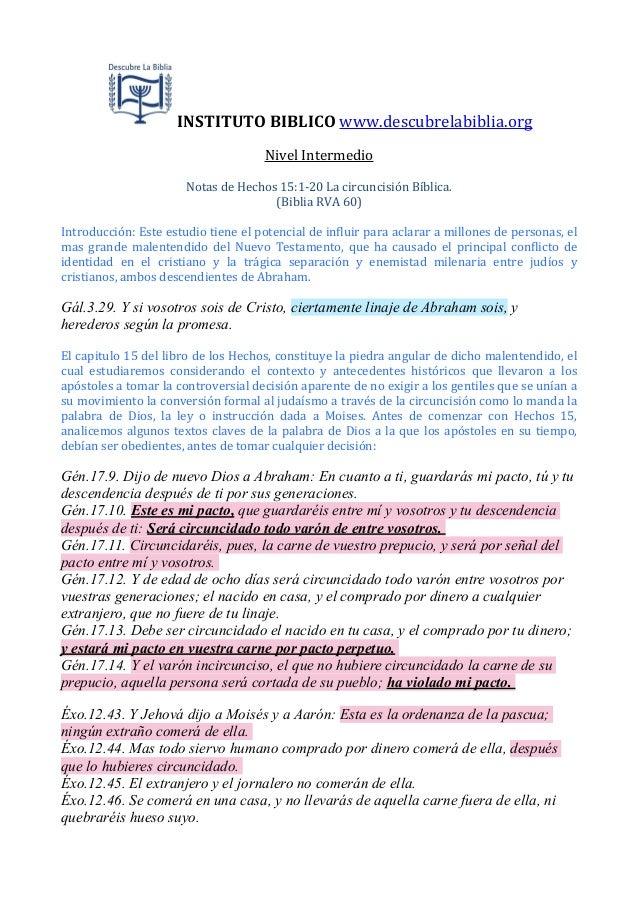 INSTITUTO  BIBLICO  www.descubrelabiblia.org Nivel  Intermedio Notas  de  Hechos  15:1-‐20  La  circuncis...