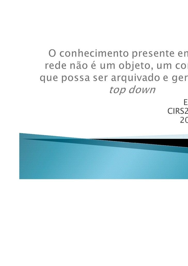 Elisa CorrêaCIRS2 – Curitiba   20 mai 2011