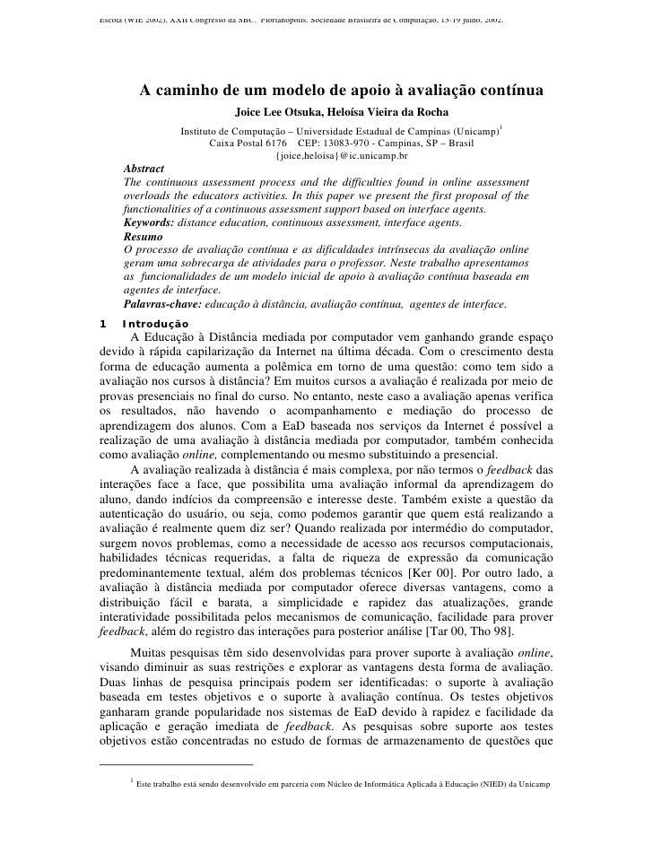 Escola (WIE 2002), XXII Congresso da SBC. Florianópolis. Sociedade Brasileira de Computação, 15-19 julho, 2002.           ...
