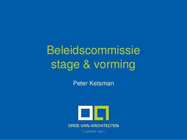 Beleidscommissie stage & vorming Peter Ketsman