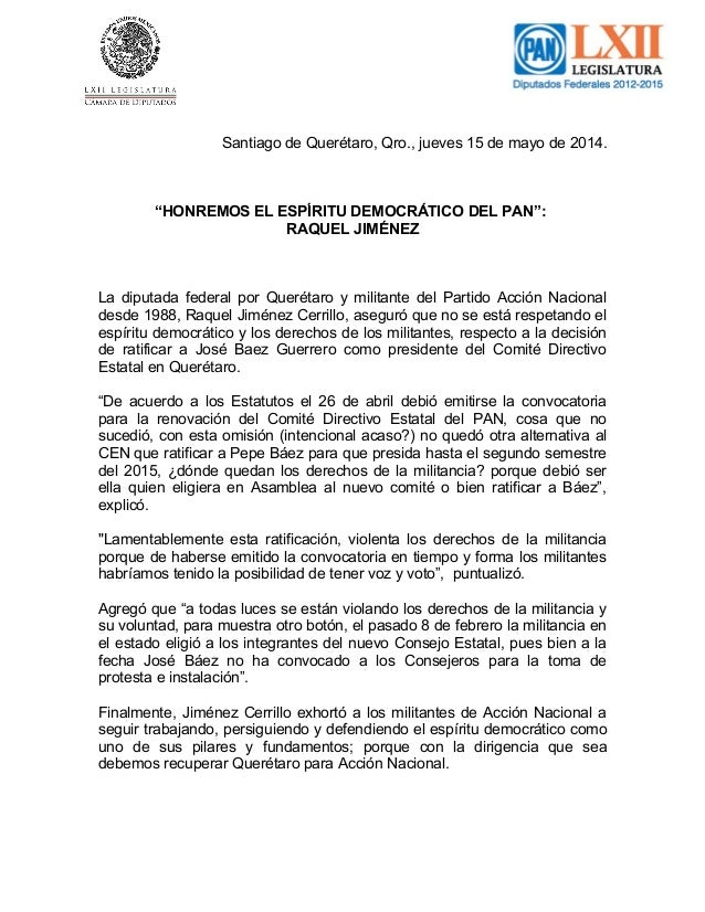 """Santiago de Querétaro, Qro., jueves 15 de mayo de 2014. """"HONREMOS EL ESPÍRITU DEMOCRÁTICO DEL PAN"""": RAQUEL JIMÉNEZ La dipu..."""