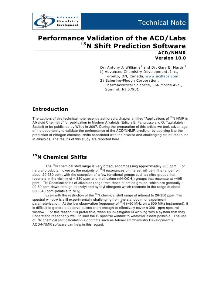 Technical Note       Performance Validation of the ACD/Labs                15                  N Shift Prediction Software...