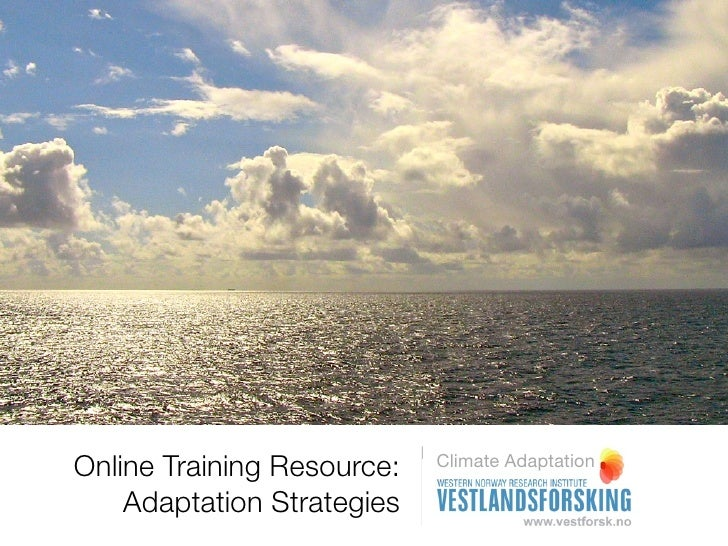 Online Training Resource for Climate Adaptation:  Adaptation Strategies - Handling Risk