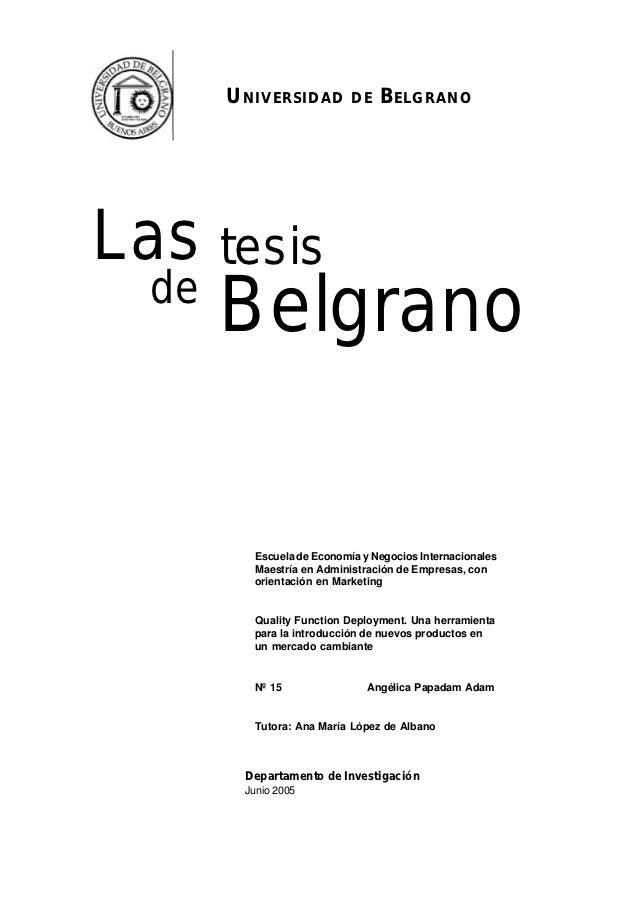UNIVERSIDAD         DE   BELGRANOLas tesis  de       Belgrano         Escuela de Economía y Negocios Internacionales      ...