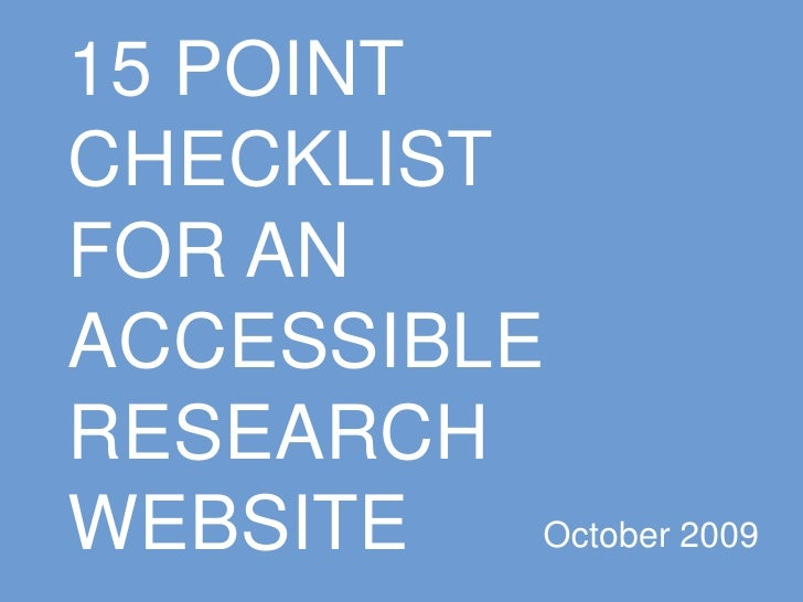 15 Point Checklist For An Accessible Research Website