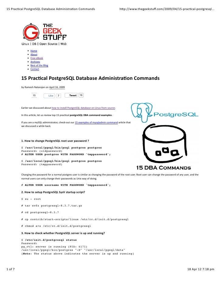 15 practical postgre sql database administration commands
