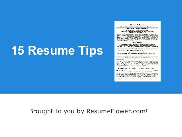 15 Resume Tips