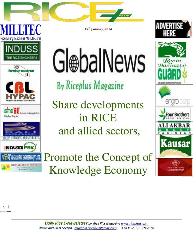 15th January, 2014  Share developments in RICE and allied sectors, Promote the Concept of Knowledge Economy  Daily Rice E-...