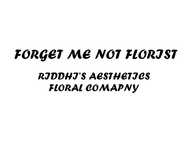 RIDDHI'S AESTHETICS FLORAL COMAPNY FORGET ME NOT FLORIST
