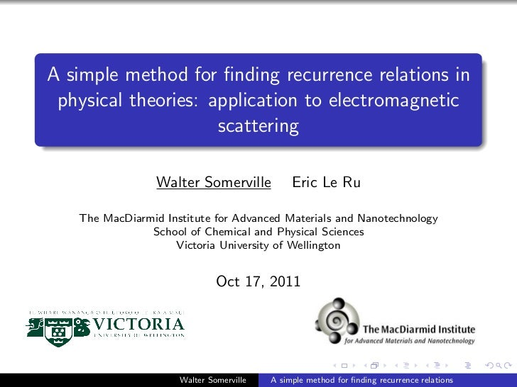 A simple method for finding recurrence relations in physical theories: application to electromagnetic                     s...