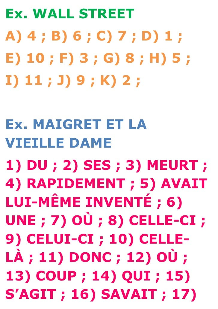 Ex. WALL STREETA) 4 ; B) 6 ; C) 7 ; D) 1 ;E) 10 ; F) 3 ; G) 8 ; H) 5 ;I) 11 ; J) 9 ; K) 2 ;Ex. MAIGRET ET LAVIEILLE DAME1)...