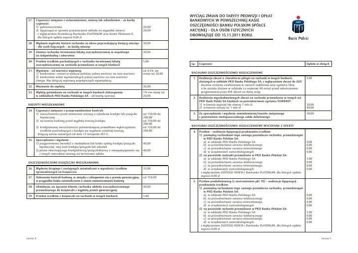 Zmiany w cenniku PKO BP od 15.11.2011