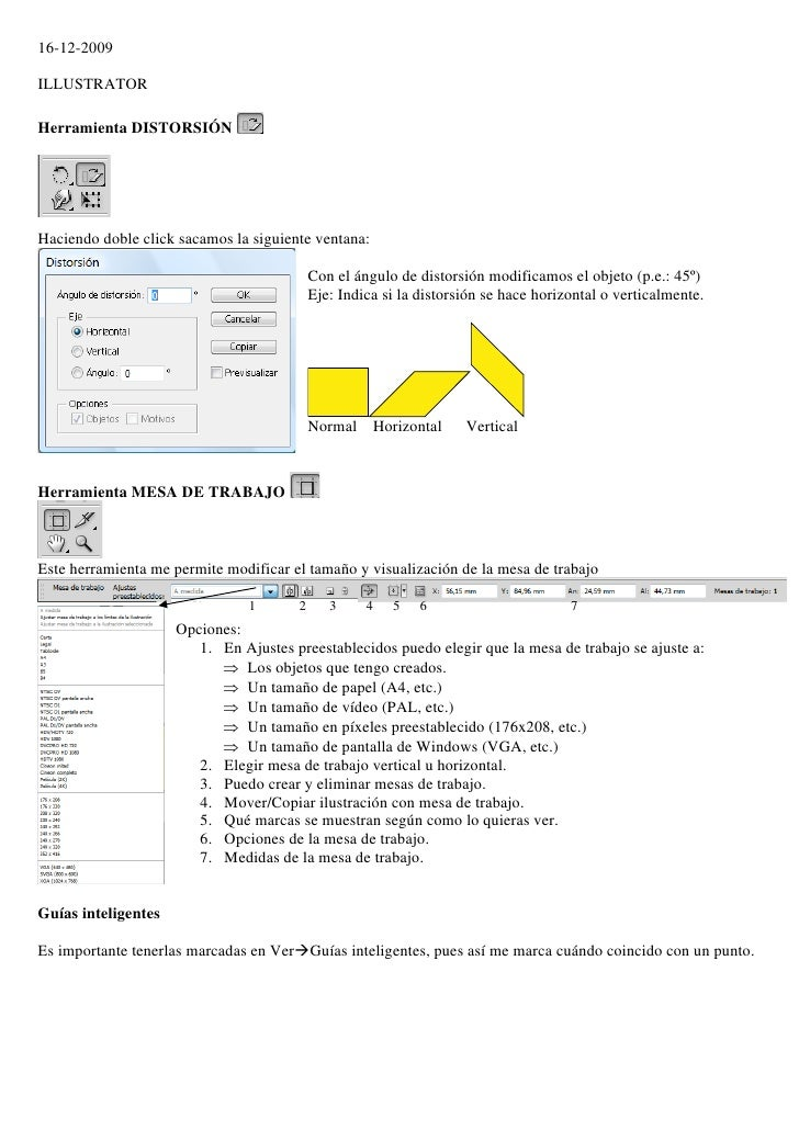 16-12-2009  ILLUSTRATOR  Herramienta DISTORSIÓN     Haciendo doble click sacamos la siguiente ventana:                    ...