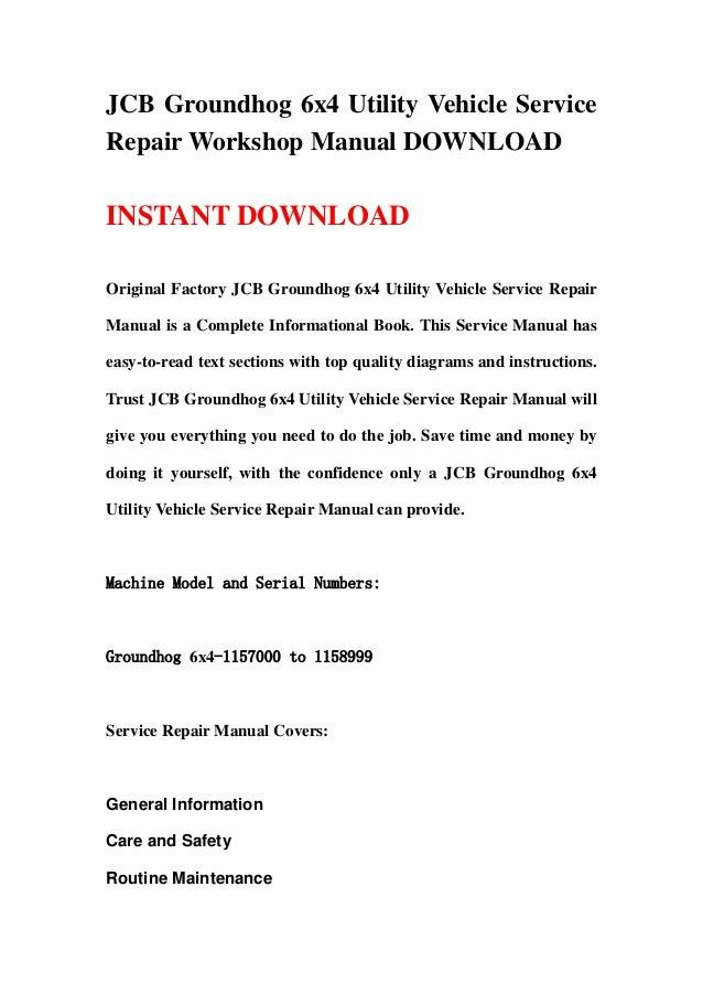 JCB Groundhog 6x4 Utility Vehicle Service Repair Workshop Manual ...
