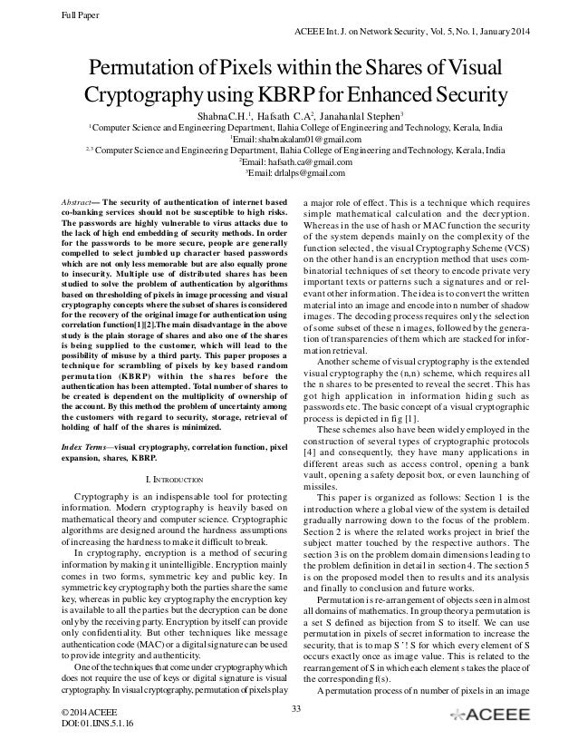 Permutation of Pixels within the Shares of Visual Cryptography using KBRP for Enhanced Security