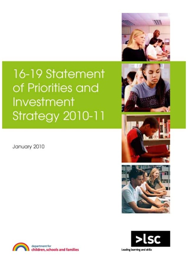16-19 Statement of Priorities and Investment Strategy
