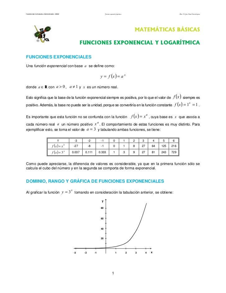 Facultad de Contaduría y Administración. UNAM                                           Funciones exponencial y logarítmic...