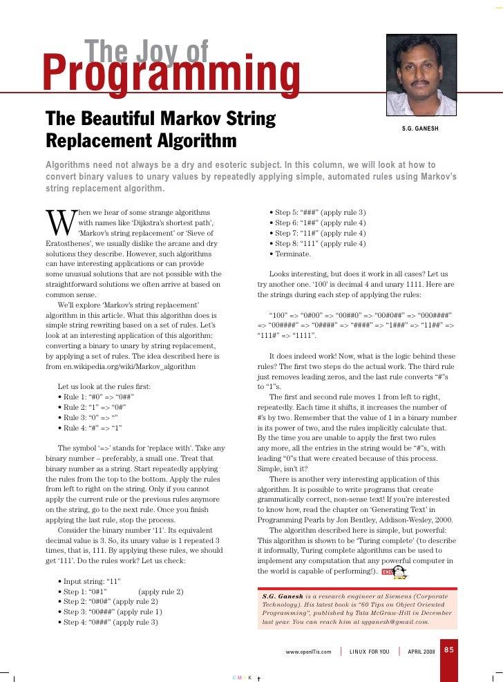 The Joy of Programming The Beautiful Markov String                                                                        ...