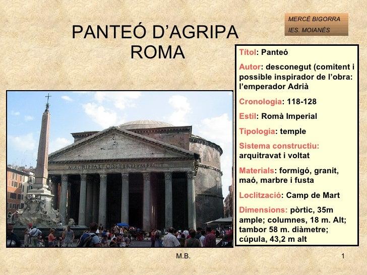 PANTEÓ D'AGRIPA  ROMA Títol : Panteó Autor : desconegut (comitent i possible inspirador de l'obra: l'emperador Adrià Crono...
