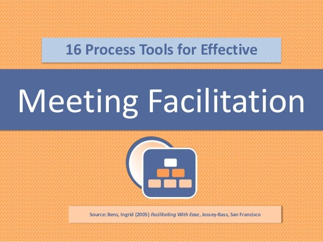 16 Process Tools for Effective  Meeting Facilitation  Source: Bens, Ingrid (2005) Facilitating With Ease, Jossey-Bass, San...