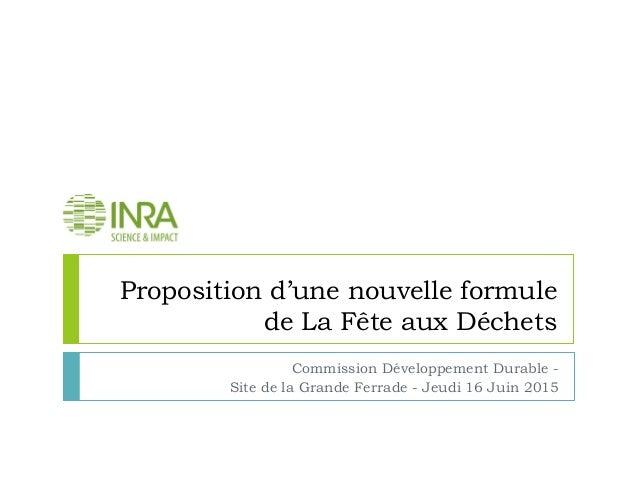 Proposition d'une nouvelle formule de La Fête aux Déchets Commission Développement Durable - Site de la Grande Ferrade - J...