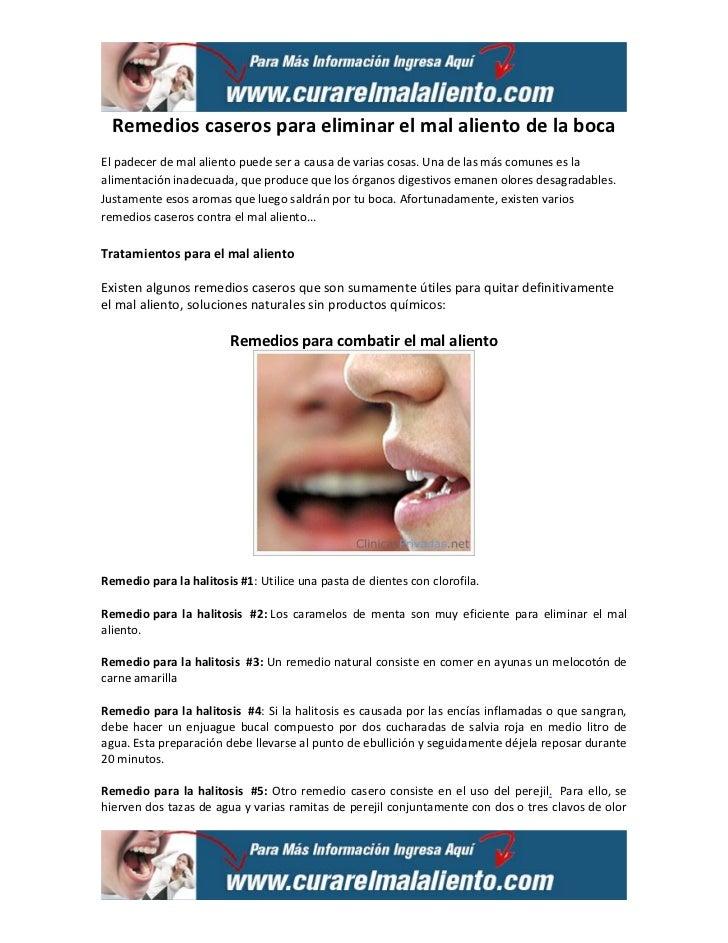 remedios caseros para eliminar el mal aliento de la boca