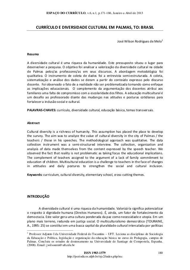 ESPAÇO DO CURRÍCULO, v.6, n.1, p.171-186, Janeiro a Abril de 2013  CURRÍCULOEDIVERSIDADECULTURALEMPALMAS,TO:BRASIL...