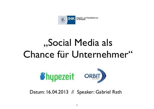 """""""Social Media alsChance für Unternehmer"""" Datum: 16.04.2013 // Speaker: Gabriel Rath                      1"""