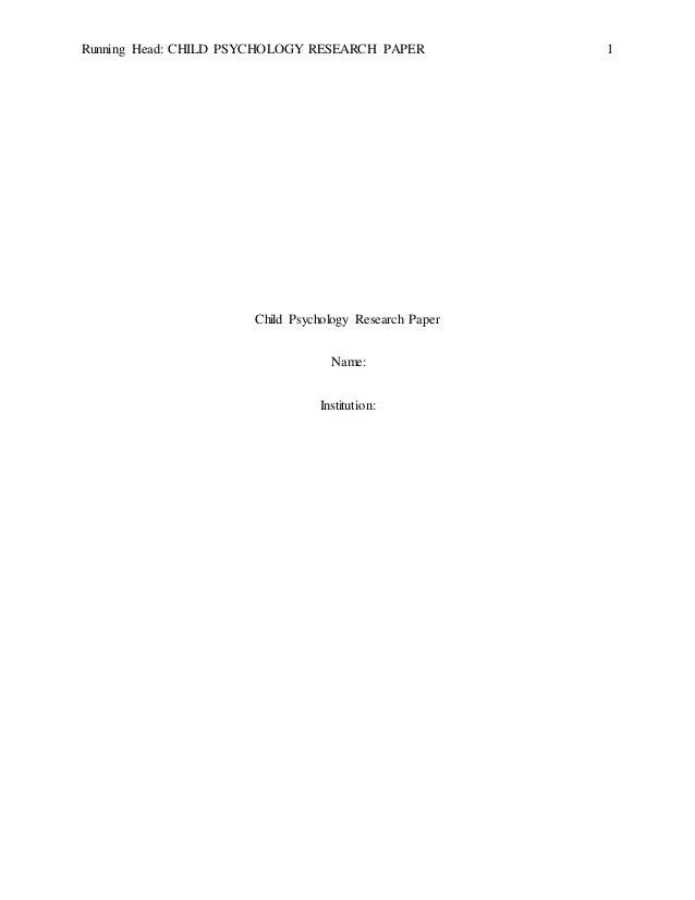 Child psychology topics for research papers
