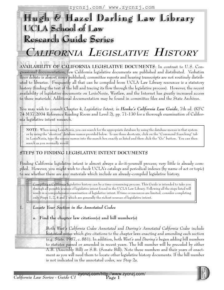 zycnzj.com/ www.zycnzj.com             CALIFORNIA LEGISLATIVE HISTORY    AVAILABILITY OF CALIFORNIA LEGISLATIVE DOCUMENTS:...