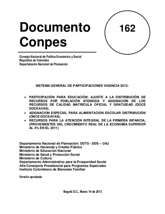 Documento                                                        162ConpesConsejo Nacional de Política Económica y SocialR...