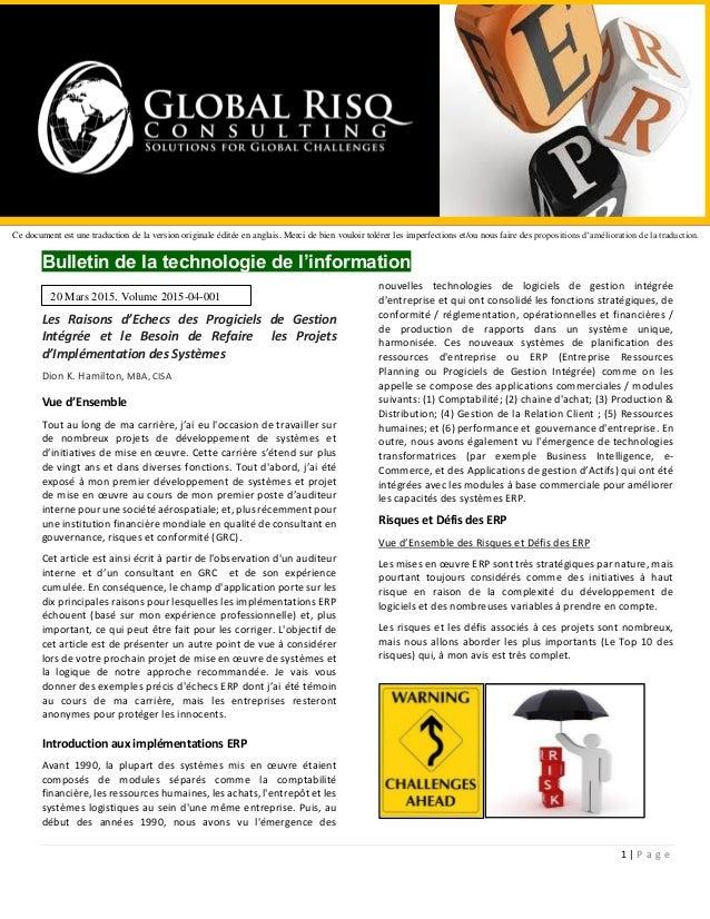 1 | P a g e Bulletin de la technologie de l'information Les Raisons d'Echecs des Progiciels de Gestion Intégrée et le Beso...