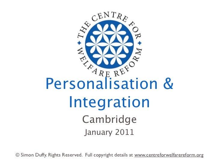 Personalisation &                Integration                               Cambridge                                Januar...