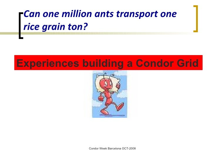 Can one million ants transport one rice grain ton? Experiences building a Condor Grid