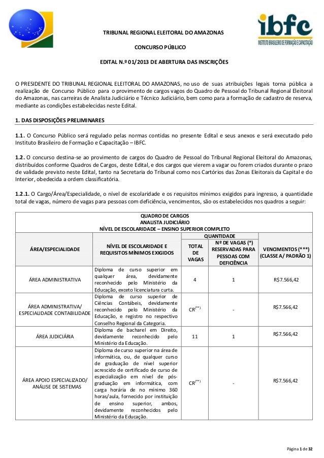 TRIBUNAL REGIONAL ELEITORAL DO AMAZONAS CONCURSO PÚBLICO EDITAL N.º 01/2013 DE ABERTURA DAS INSCRIÇÕES  O PRESIDENTE DO TR...