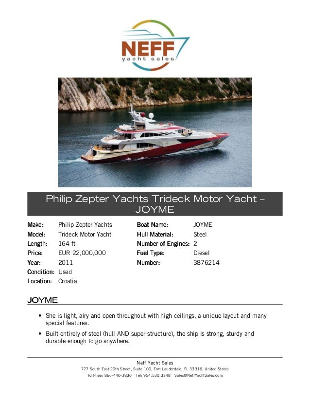 164ft philip zepter trideck motor yacht 2011 joyme for sale neff yacht sales