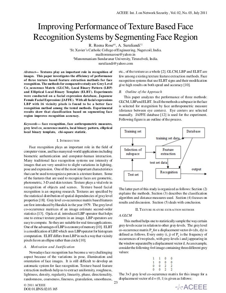 ACEEE Int. J. on Network Security , Vol. 02, No. 03, July 2011       Improving Performance of Texture Based Face      Reco...
