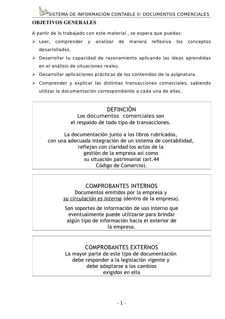 SISTEMA DE INFORMACIÓN CONTABLE II: DOCUMENTOS COMERCIALESOBJETIVOS GENERALESA partir de lo trabajado con este material , ...