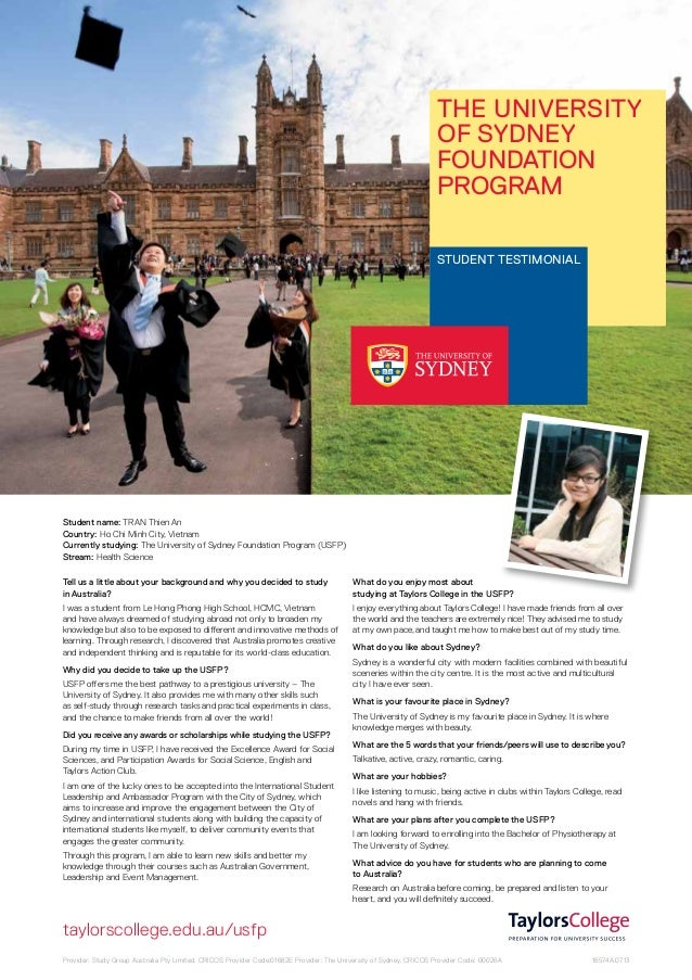 The University of Sydney Foundation Program STUDENT testimonial  Student name: TRAN Thien An Country: Ho Chi Minh City, Vi...