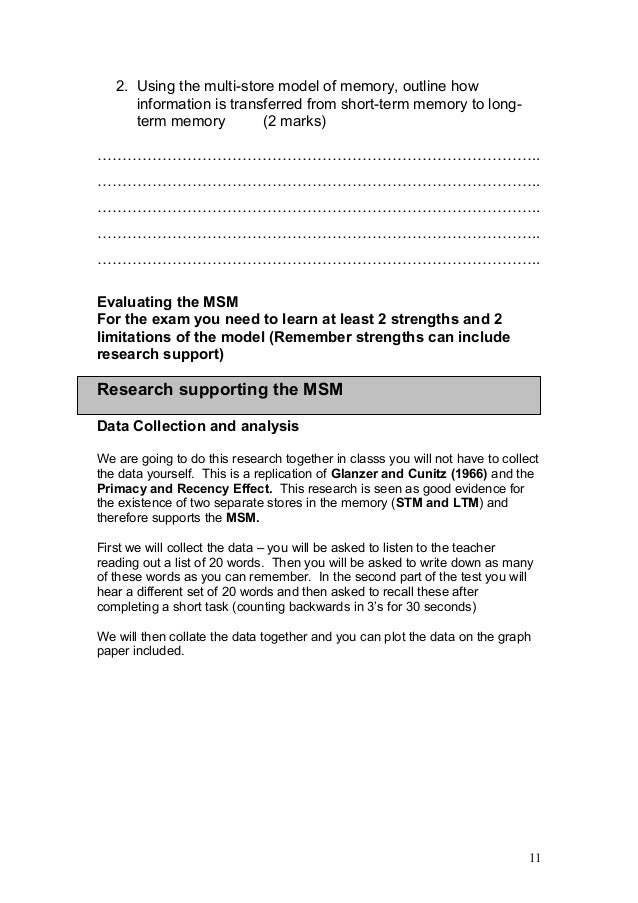 outline and evaluate msm Psychology aqa a -students are introduced to the levelled mark scheme -discuss command words to questions and sort an essay card sort into points, evidence and evaluation.
