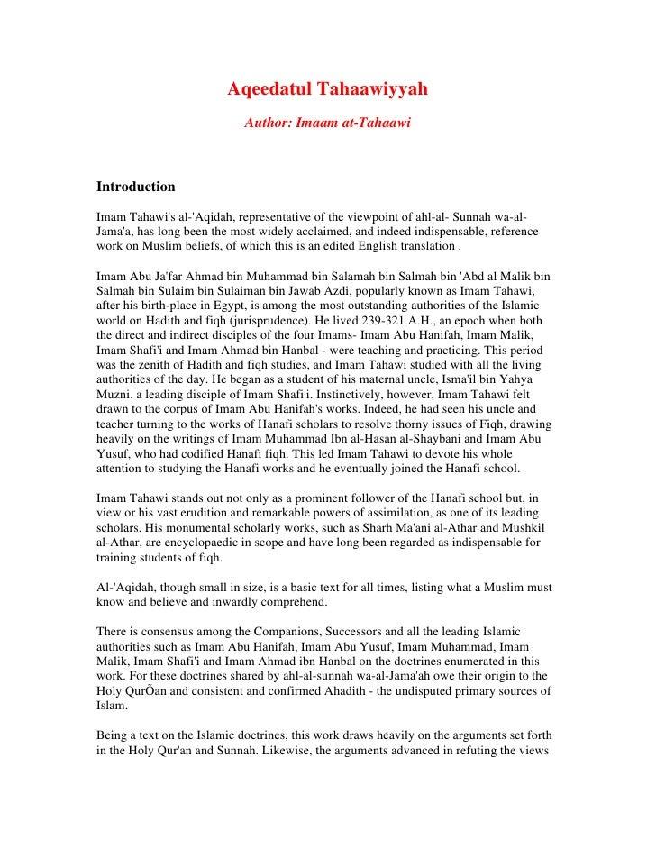 Aqeedatul Tahaawiyyah                              Author: Imaam at-Tahaawi    Introduction  Imam Tahawi's al-'Aqidah, rep...